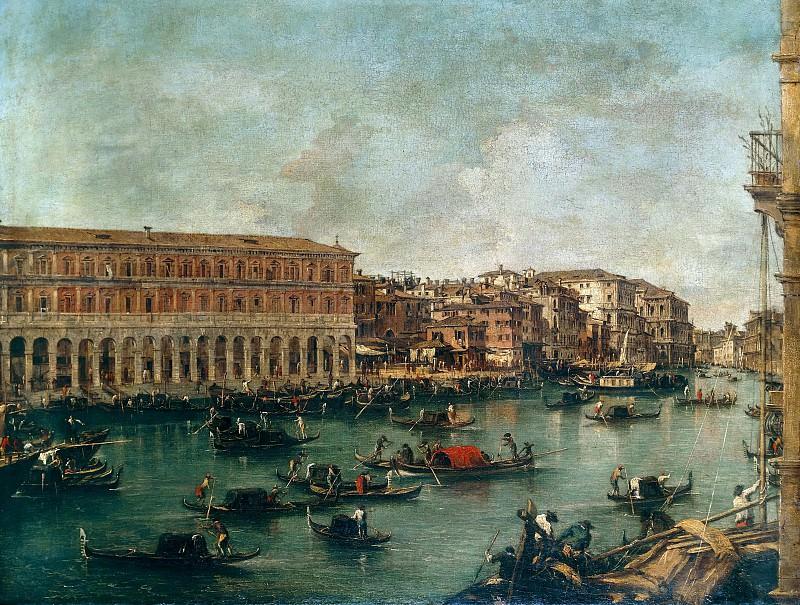 The Grand Canal at th Fish Market Pescheria. Francesco Guardi