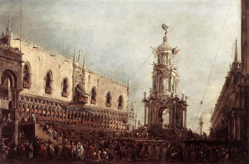 Carnival Thursday on the Piazzetta. Francesco Guardi