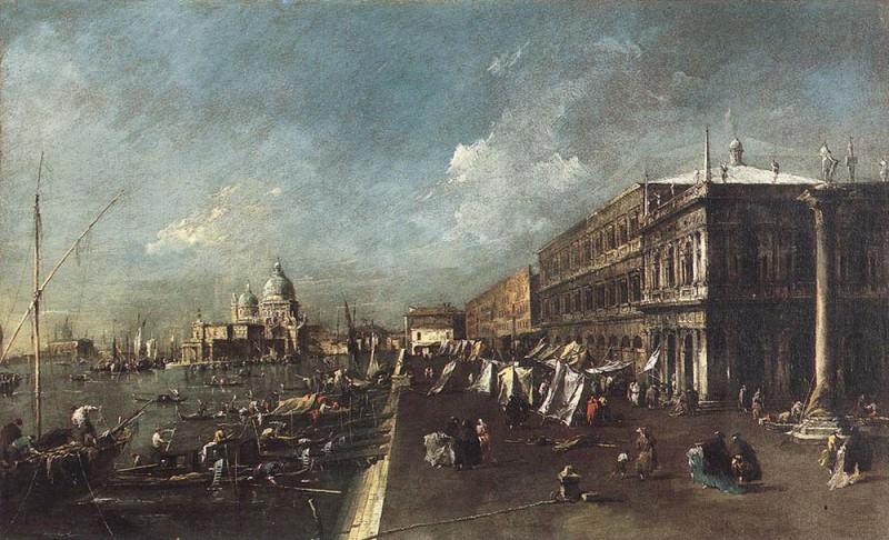 View of the Molo towards the Santa Maria della Salute. Francesco Guardi