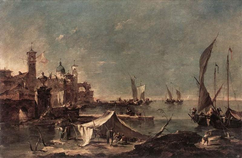 Landscape with a Fishermans Tent. Francesco Guardi