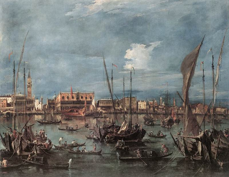 The Molo and the Riva degli Schiavoni from the Bacino di San Marco. Francesco Guardi