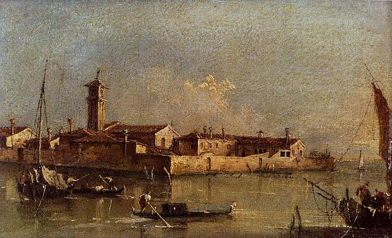 Вид на остров Сан-Микеле вблизи Мурано, Венеция. Франческо Гварди