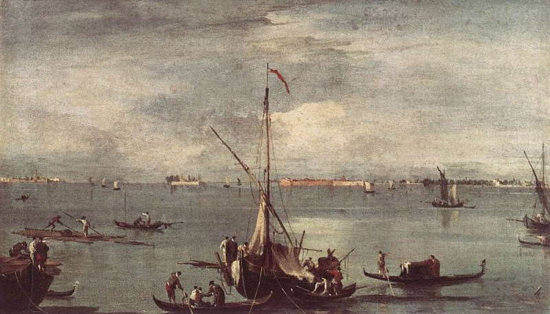 The Lagoon with Boats Gondolas and Rafts. Francesco Guardi