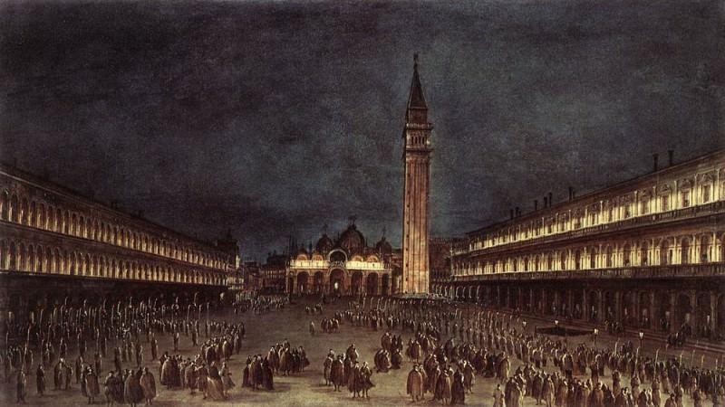 Ночная процессия на площади Сан-Марко. Франческо Гварди
