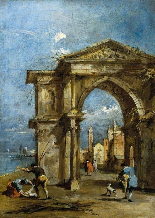Каприччио с триумфальной аркой и крапинками. Франческо Гварди