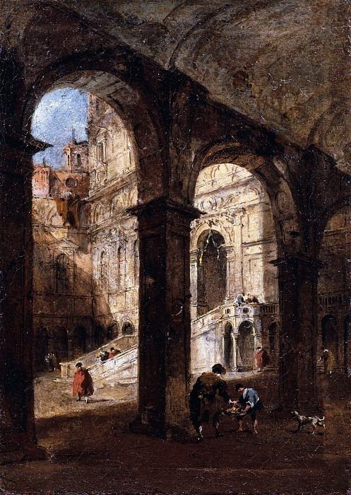Вид на двор Дворца Дожей и Скала деи Гиганти в Венеции. Франческо Гварди