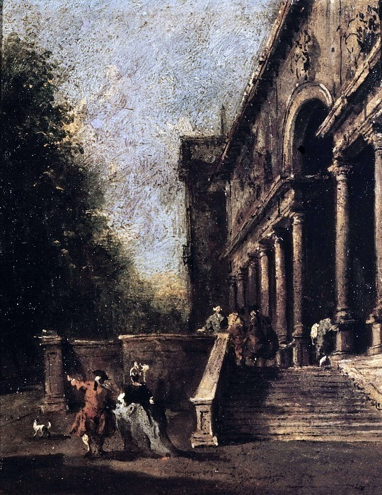 Атриум виллы с лестницей и персонажами. Франческо Гварди