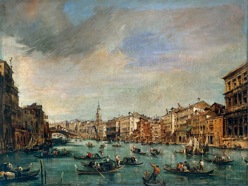 The Grand Canal Looking toward the Rialto Bridge. Francesco Guardi