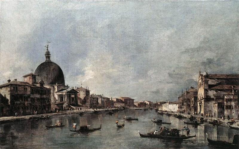 The Grand Canal with San Simeone Piccolo and Santa Lucia. Francesco Guardi