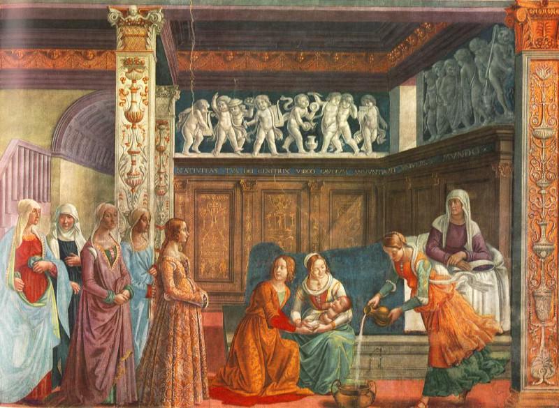 BIRTH OF MARY CAPPELLA TORNABUONI SMARIA NOVE. Domenico Ghirlandaio