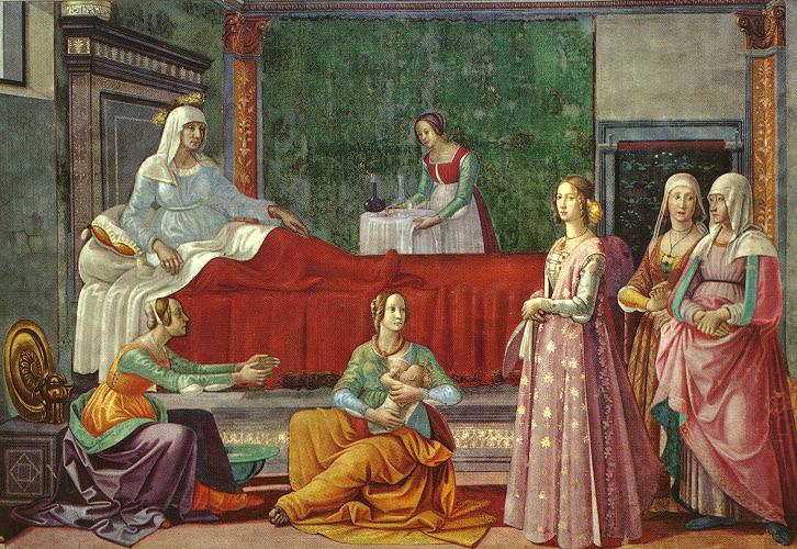 BIRTH OF ST JOHN CAPPELLA TORNABUONI SMARIA N. Domenico Ghirlandaio