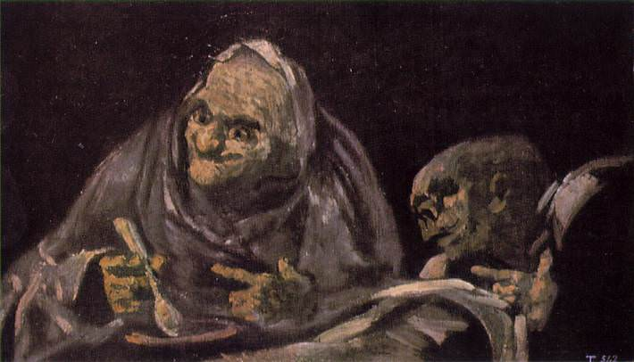 Two Old Women Eating From A Bowl. Francisco Jose De Goya y Lucientes