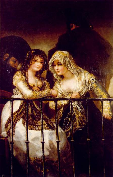 Majas on a Balcony, ca 1808-12, 162x107 cm, Private col. Francisco Jose De Goya y Lucientes
