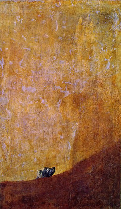 The dog, 1820-23, 134x80 cm, Oil on plaster remounted o. Francisco Jose De Goya y Lucientes