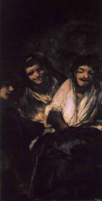 Two Young People Laughing at a Man, 1820-23, 125x66 cm,. Francisco Jose De Goya y Lucientes
