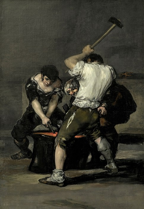 The Forge. (c.1815-1820, 181.6x125.1 cm, Frick coll. NY). Francisco Jose De Goya y Lucientes