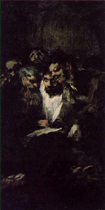 Men reading, ca 1819-23, 126x66 cm, Oil on plaster remo. Francisco Jose De Goya y Lucientes