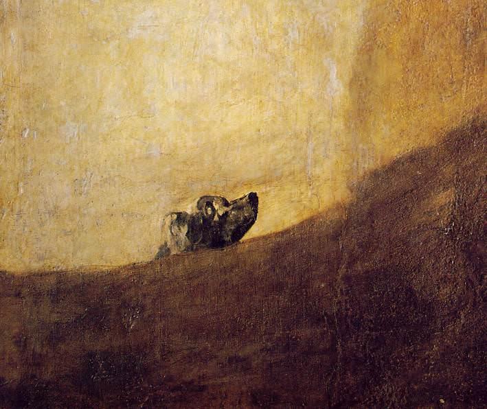 The dog, 1820-23, 134x80 cm, Detalj, Oil on plaster rem. Francisco Jose De Goya y Lucientes