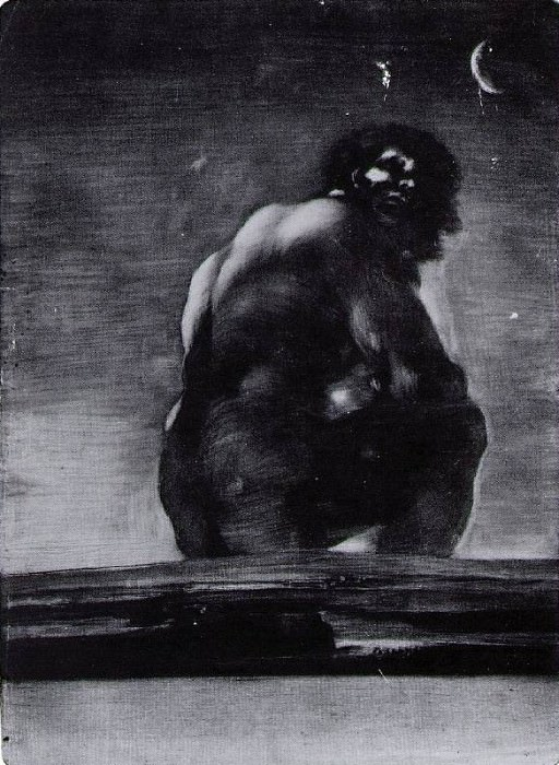 The giant, 1818, Aquatint with burnishing (first state). Francisco Jose De Goya y Lucientes