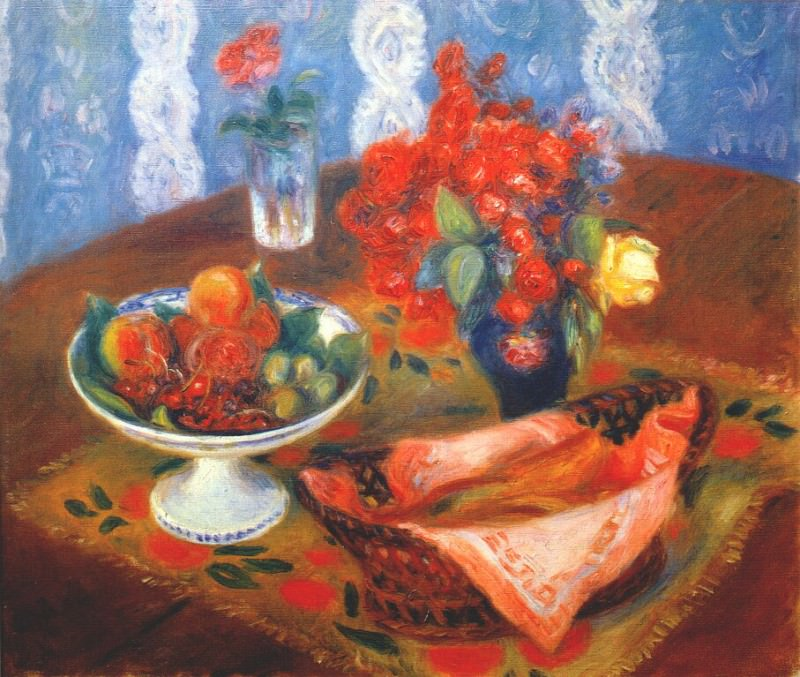 still life with roses and fruit c1924. William James Glackens