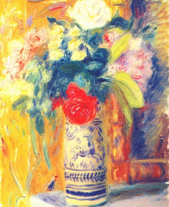 bouquet against yellow wallpaper. William James Glackens