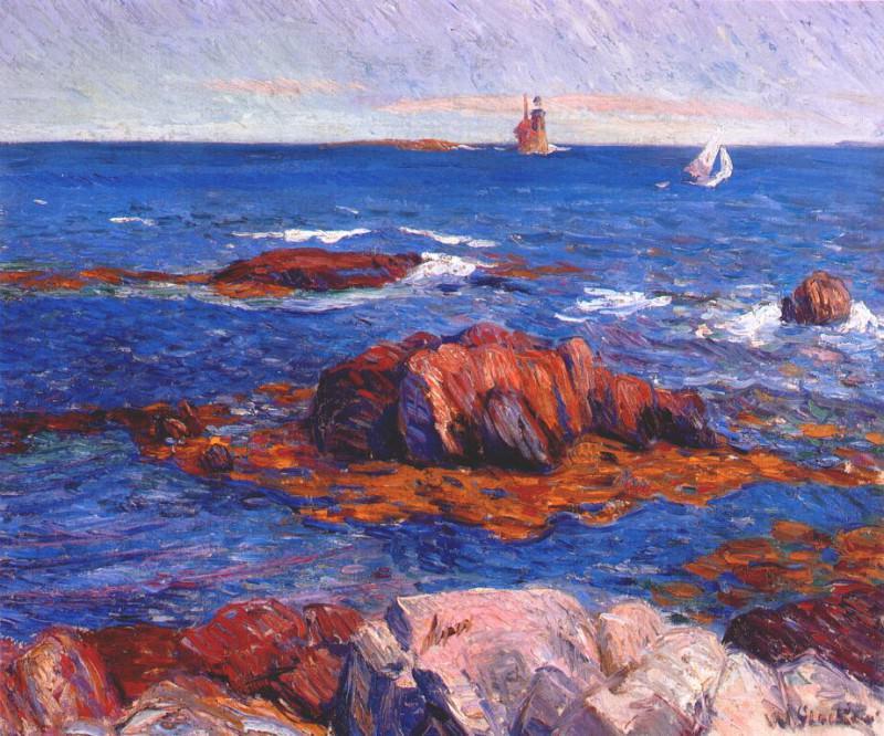 rocks and lighhouse c1908. William James Glackens