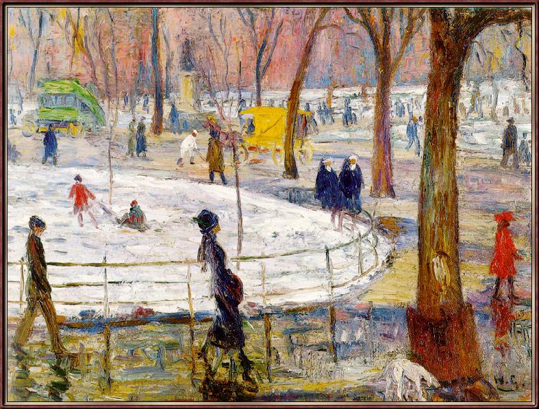Winter-WashingtonSquarePark. William James Glackens