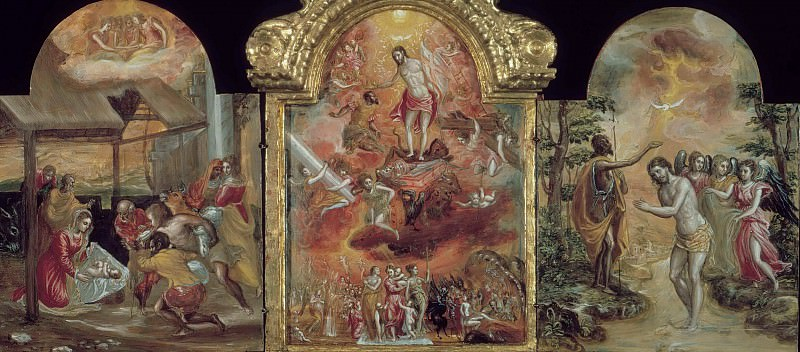 Modena Triptych - Adoration of the Shepherds, Allegory of a Christian Knight, and the Baptism of Jesus. El Greco