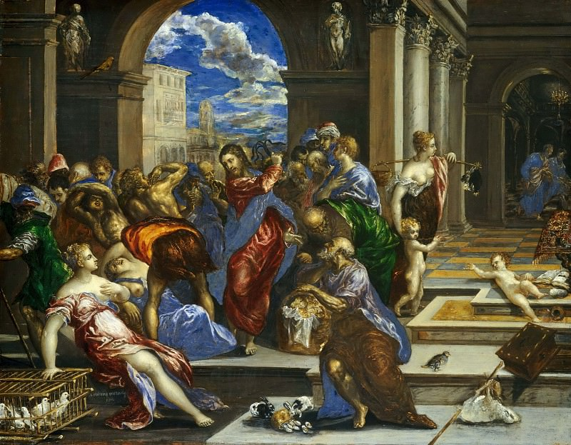 Christ Driving the Money Changers from the Temple. El Greco