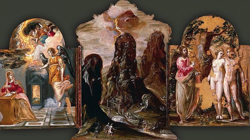 Моденский триптих - Благовещение, Видение на горе Синай и Адам и Ева. Эль Греко