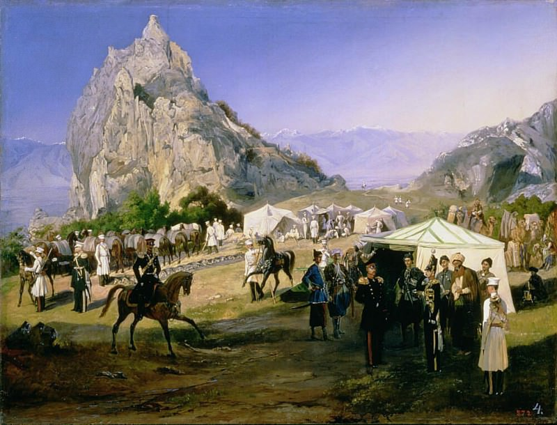 The Summer Camp of the Regiment of Nizhegorodsky Dragoons near Karagach. Grigori Grigorevich Gagarin