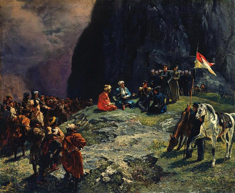 The Meeting of General Kluke von Klugenau and Imam Shamil in 1837. Grigori Grigorevich Gagarin