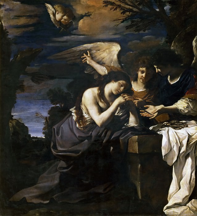 Magdalen and Two Angels. Guercino (Giovanni Francesco Barbieri)