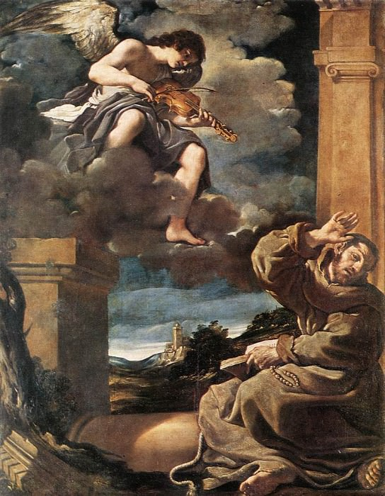 St Francis with an Angel Playing Violin. Guercino (Giovanni Francesco Barbieri)