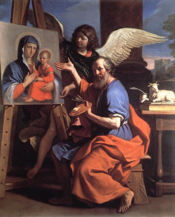 St Luke Displaying a Painting of the Virgin. Guercino (Giovanni Francesco Barbieri)