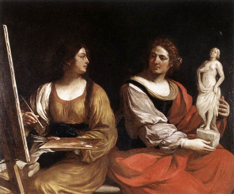 Allegory of Painting and Sculpture. Guercino (Giovanni Francesco Barbieri)