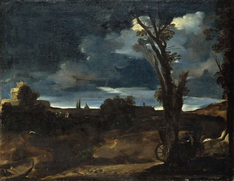 Moonlight Landscape. Guercino (Giovanni Francesco Barbieri)