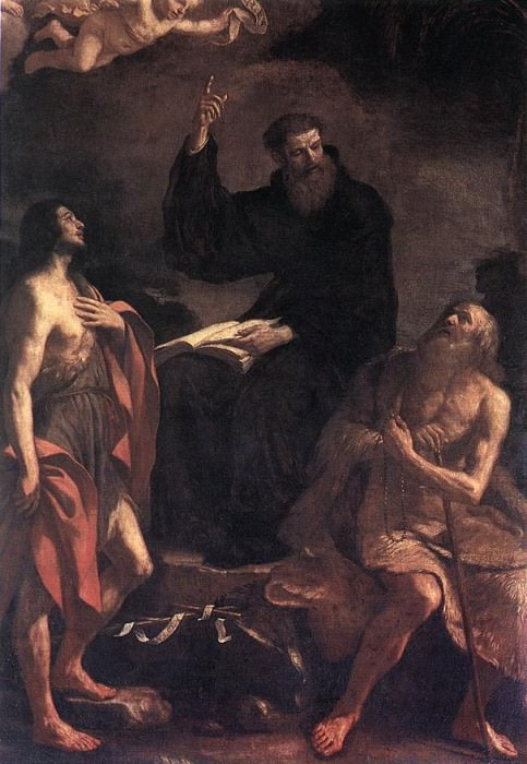 St Augustine St John the Baptist and St Paul the Hermit. Guercino (Giovanni Francesco Barbieri)