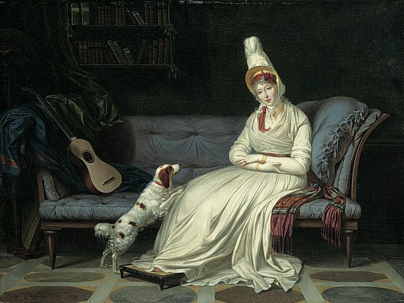 Portrait of Elizabeth, Lady Webster, later Lady Holland in a white dress with her spaniel Pierrot. Louis Gauffier