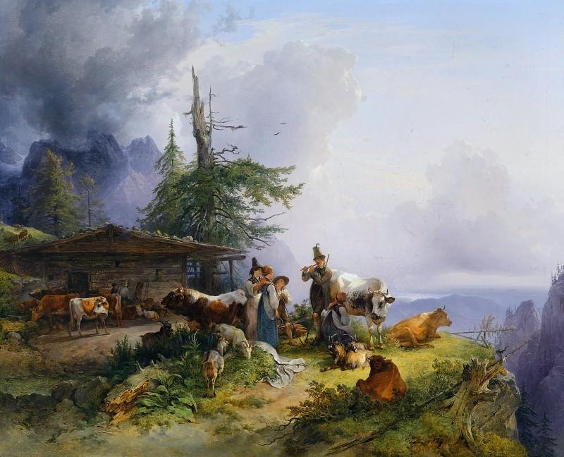 Молочная ферма с многочисленными животными в горах под Зальцбургом, 1835. Фридрих Гауэрман