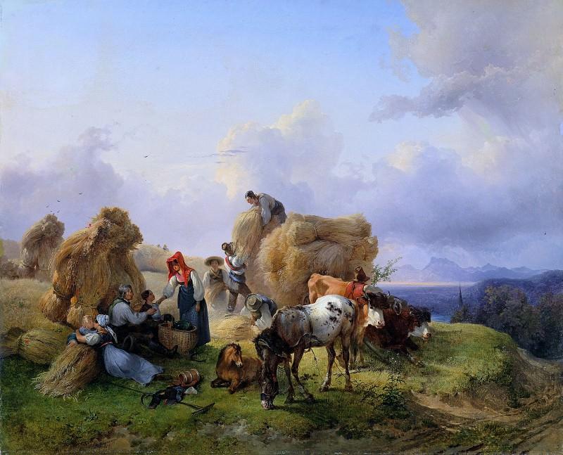 Фридрих Гауэрманн - Сбор урожая в предгорьях Альп. Фридрих Гауэрман (Harvesting in the Foothills of the Alps)