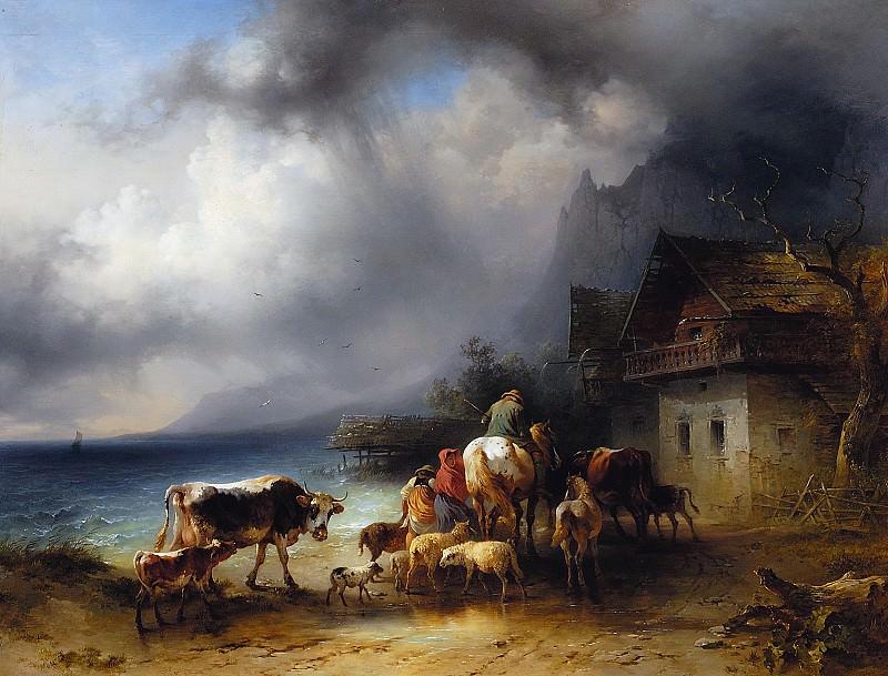 Возвращение домой во время грозы над Аттерзее (1856). Фридрих Гауэрман