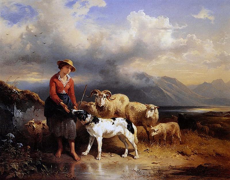Баварская девушка с овечьим стадом. Фридрих Гауэрман