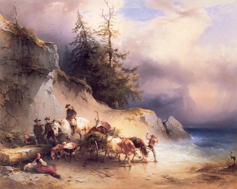 Возвращение домой с охоты у Аттерзее, 1857. Фридрих Гауэрман