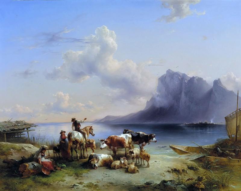 Пастух со стадом у Аттерзее, 1852. Фридрих Гауэрман