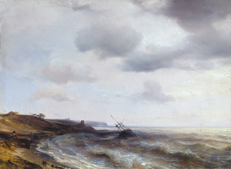 Sea coast with aground ship. Theodore Gudin