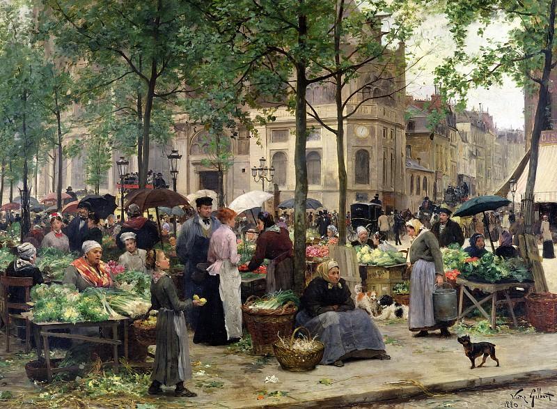 Сквер перед Центральным рынком в Париже, 1880. Виктор Габриель Жильбер