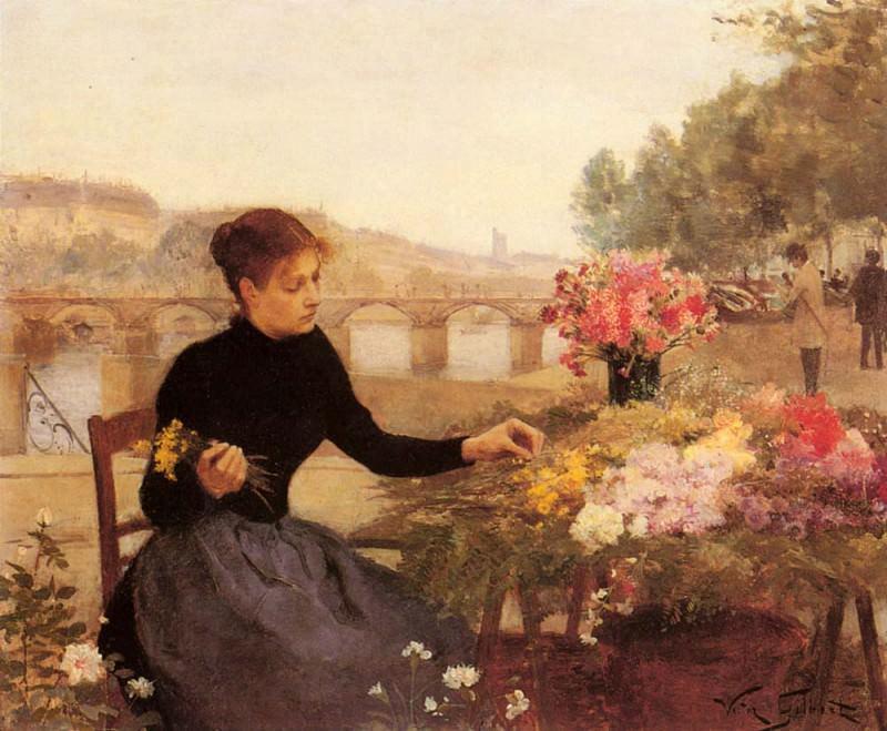 A Parisian Flower Market. Victor Gabriel Gilbert