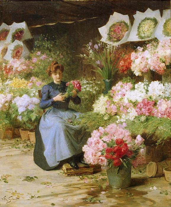 Продавщица цветов перед церковью Мадлен. Виктор Габриель Жильбер