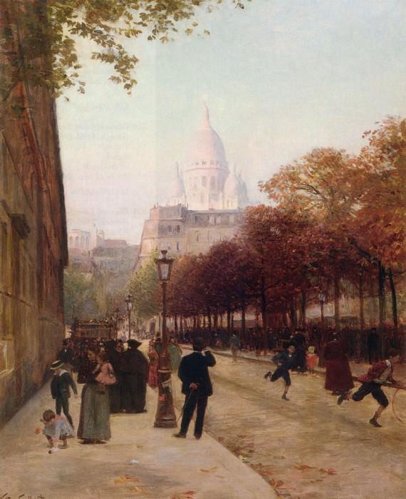 Площадь Антверпена и базилика Святого Сердца (Сакре-Кёр), Париж. Виктор Габриель Жильбер